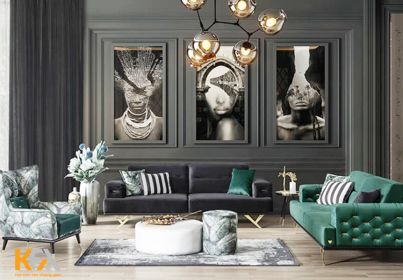 Phòng khách đẹp lạ với tone màu xanh