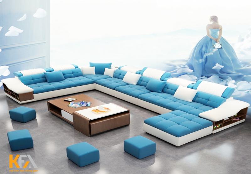 Thiết kế bộ bàn ghế sofa tại phòng khách tone màu xanh thanh lịch